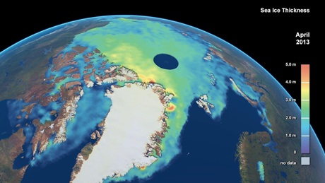 Arctic sea-ice thickness for April 2013, as measured by CryoSat. Credit: Planetary Visions/CPOM/UCL/ESA
