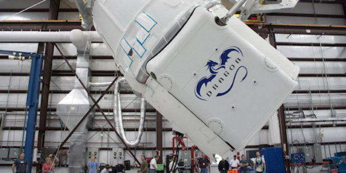 ASIM will be transported to the ISS with a Dragon module launched on a Falcon 9 rocket from SpaceX 2 April 2018. (SpaceX)