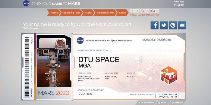 Med et 'Boarding Pass' til Mars-2020-missionen, kan man få sit navn med til Mars, lover NASA. (Illustration: NASA/MGA/DTU Space)