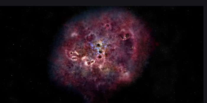 A huge and dusty star-forming galaxy like Mambo-9  could look like this in visible light according to an artist's impression (Illustration: NRAO/AUI/NSF/B. Saxton).