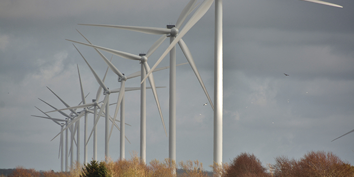 Wind turbines stock photo.